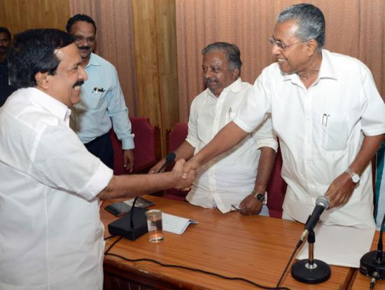 ramesh chennithala with pinaray